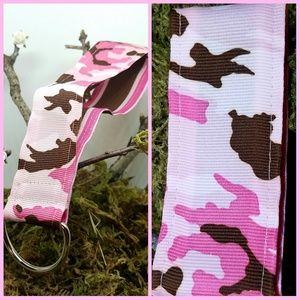 Girly Camouflage Ribbon Keychain